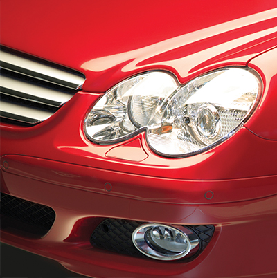 headlights on red car